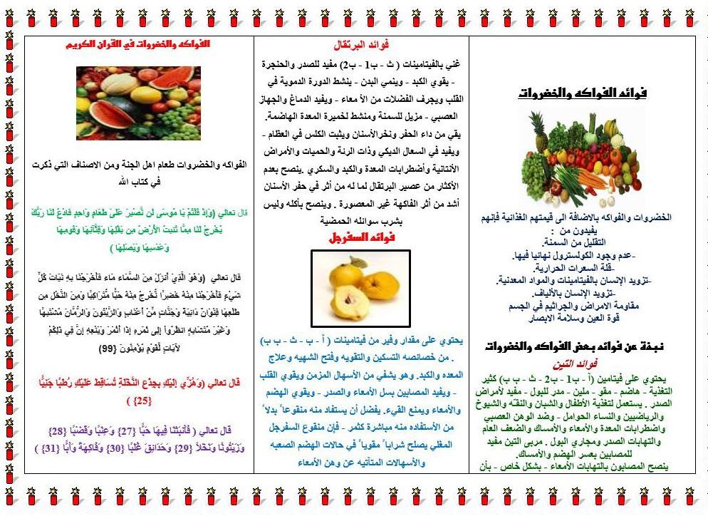 مطويات الغذاء الصحي والغير صحي للاطفال المرسال