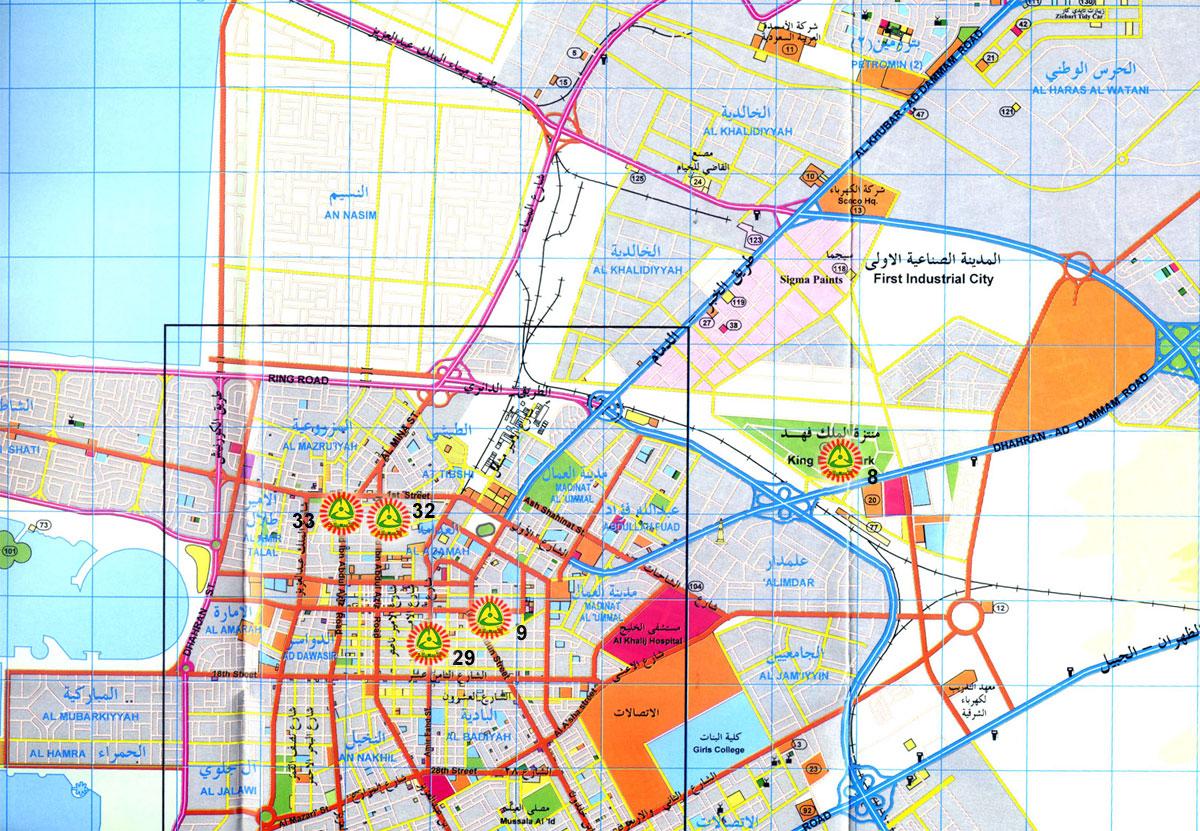 خريطة الدمام بالتفصيل ورمزها البريدي المرسال