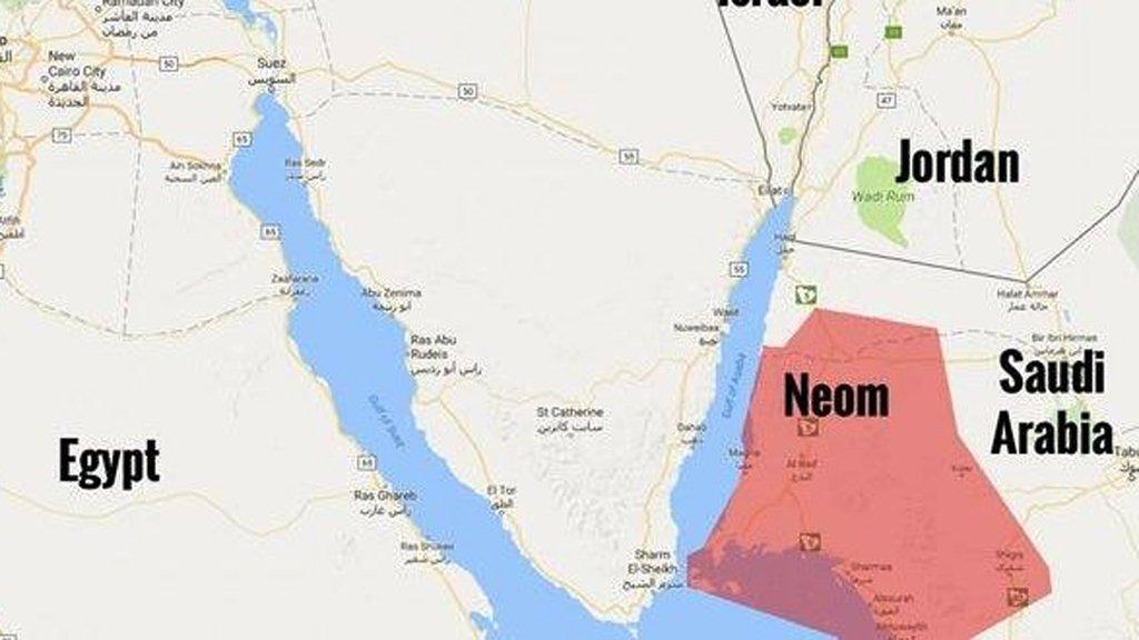مشروع نيوم اين يقع بالخرائط