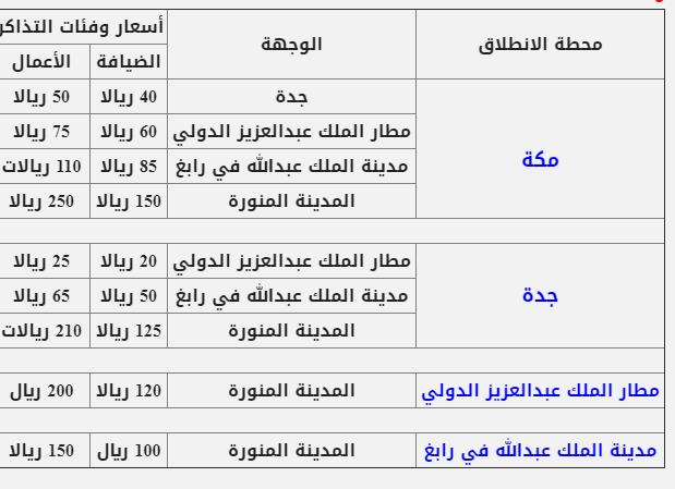 جدول رحلات قطار الحرمين مع الاسعار المرسال