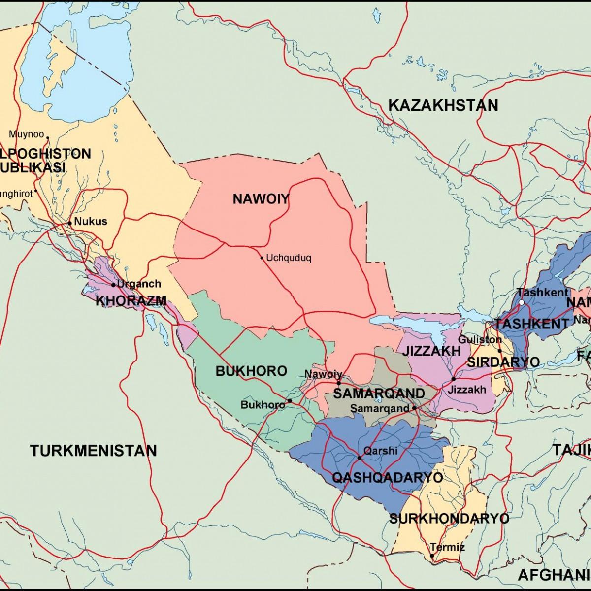 خريطة اوزباكستان لتوضيح مدينة بخارى مدن-اوزباك�