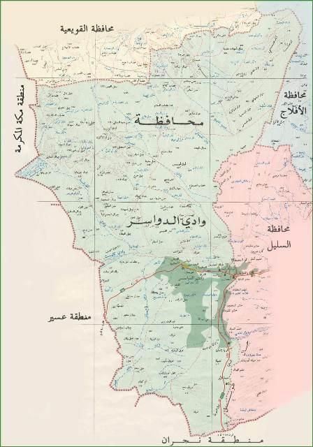 خريطة وادي الدواسر و الرمز البريدي الخاص بها المرسال