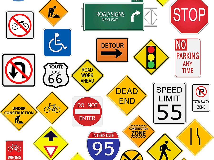 اشارات المرور بالانجليزي المرسال