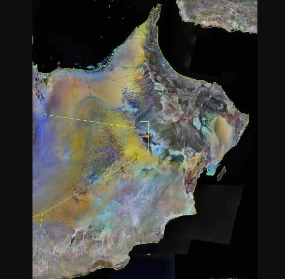 خريطة سلطنة عمان بالاقمار الصناعية