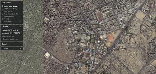 أستخدام جوجل إيرث لأستخراج صورة مجمعة للقمر الصناعي كويك بيرد