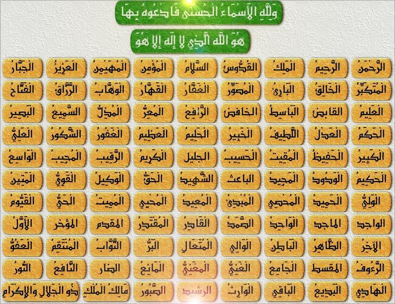عدد اسماء الله الحسنى المرسال