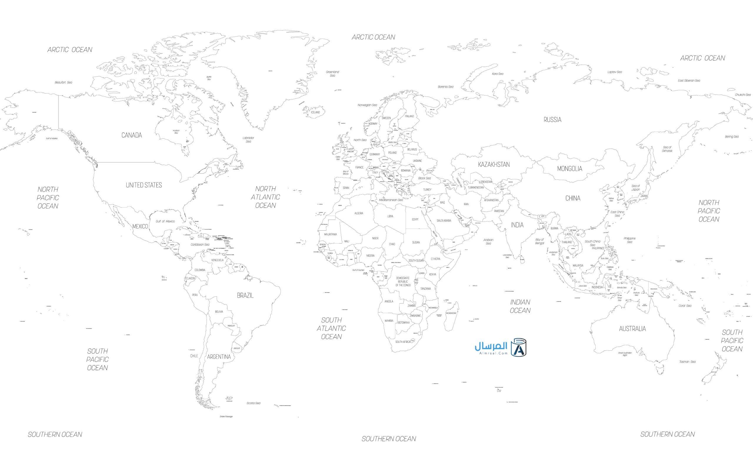خريطة العالم صماء المرسال