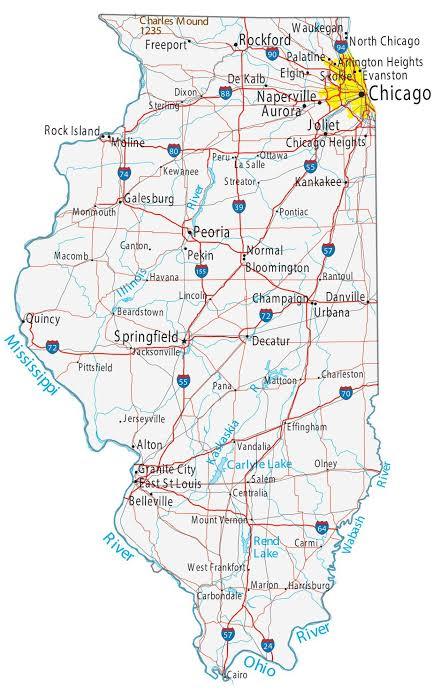 خريطة مدن ولاية إلينوي